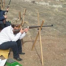 Chris shoots  at 500 yards.Shooting a custom Remington Rolling Block,   .38-55.